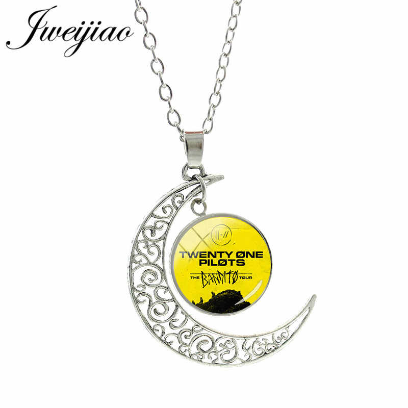 JWEIJIAO 2019 Hot Twenty One Pilots Moon Pendant Necklace Glass Cabochon Dome Collier Necklaces Jewelry Fans Gift TO25