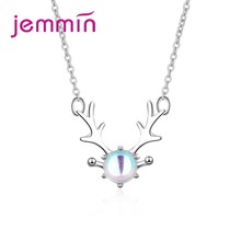 Top Quality Fashion Anel Bijoux 925 Sterling Silver Antlers Pendant Necklace Shiny Luxury Opal Exquisite Women Jewelry(China)