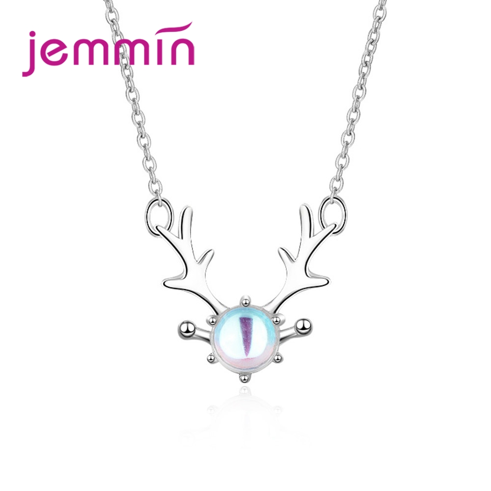 Top Quality Fashion Anel Bijoux 925 Sterling Silver Antlers Pendant Necklace Shiny Luxury Opal Exquisite Women Jewelry