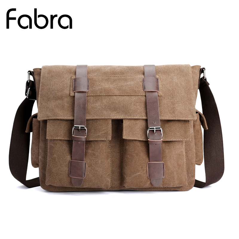 Fabra Men Canvas Crossbody Bags Shoulder Men Messenger Bags Vintage Casual Tote Bag Multifunction Laptop Briefcase High Quality vintage canvas messenger bag high quality womens crossbody bags bend zipper design casual small flap tote bag