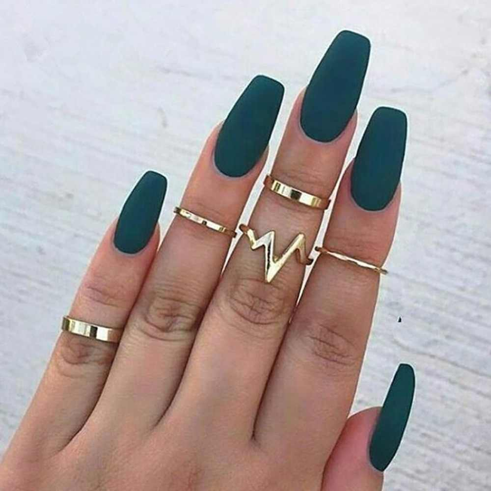 Hot Fashion 5pcs/pack Lightning Waves Simple Big Small Circle Gold Silver Color Finger Ring Set for Women Jewelry Anillos Mujer