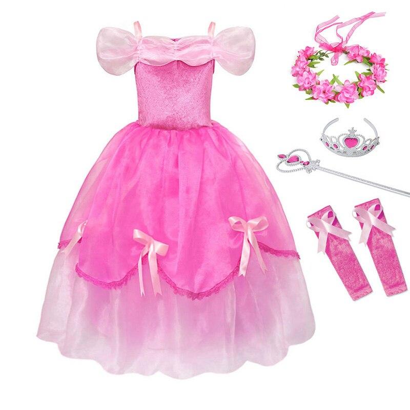 fcd17529a YOFEEL Girls Princess Aurora Dress Cosplay Sleeping Beauty Costume Kids  Draped Layered Pink Dresses Party Halloween