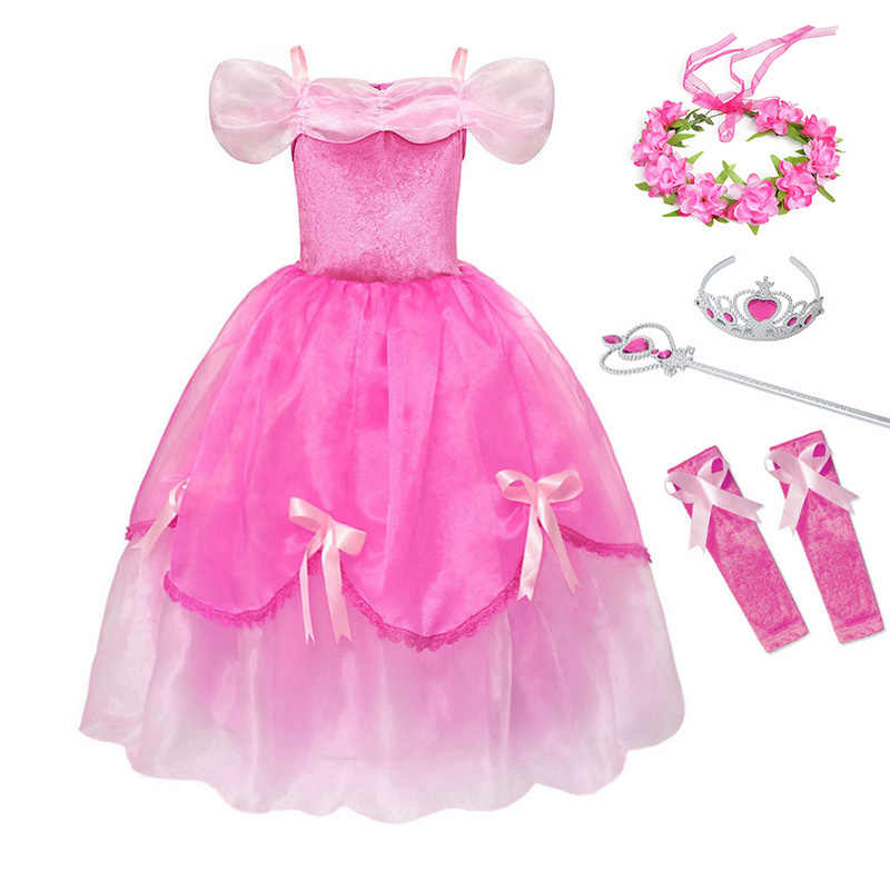 5324cf7debb YOFEEL Girls Princess Aurora Dress Cosplay Sleeping Beauty Costume Kids  Draped Layered Pink Dresses Party Halloween