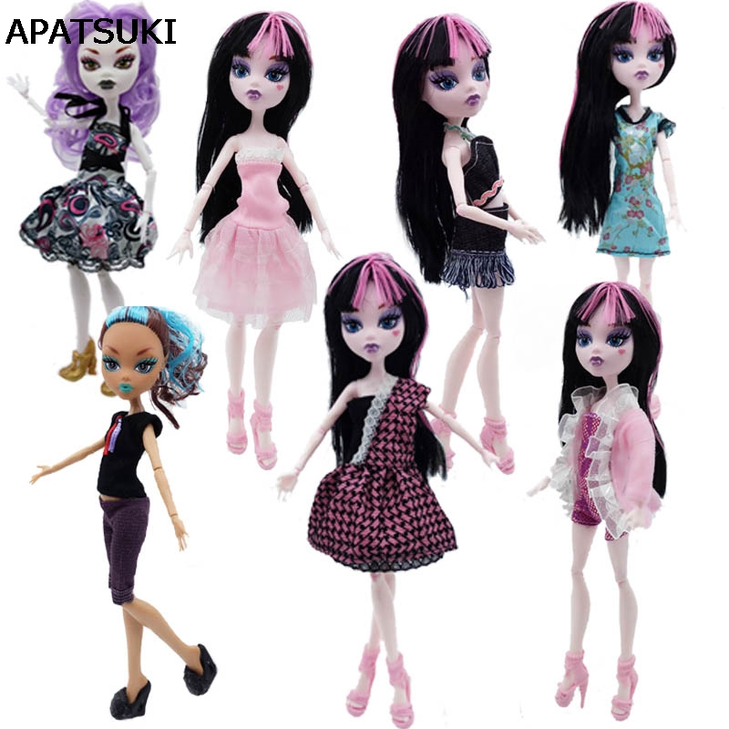 7 unids / lote ropa de moda para monster high dolls dress vestidos de fiesta vestidos ropa casual para monster doll kid toys