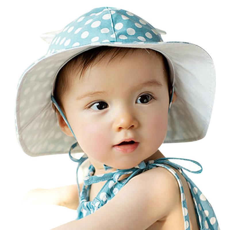 7dd9eb7263a Sweet Baby Sunhat Newborn Infants Cotton Bucket Cap Cute Outdoor Polka Dots  Beach Ear Hats Summer Children Hat for 4M-24M