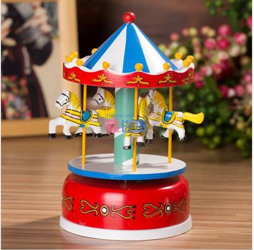 2013 fashion wooden colorful carousel merry go round music for Application box decoration