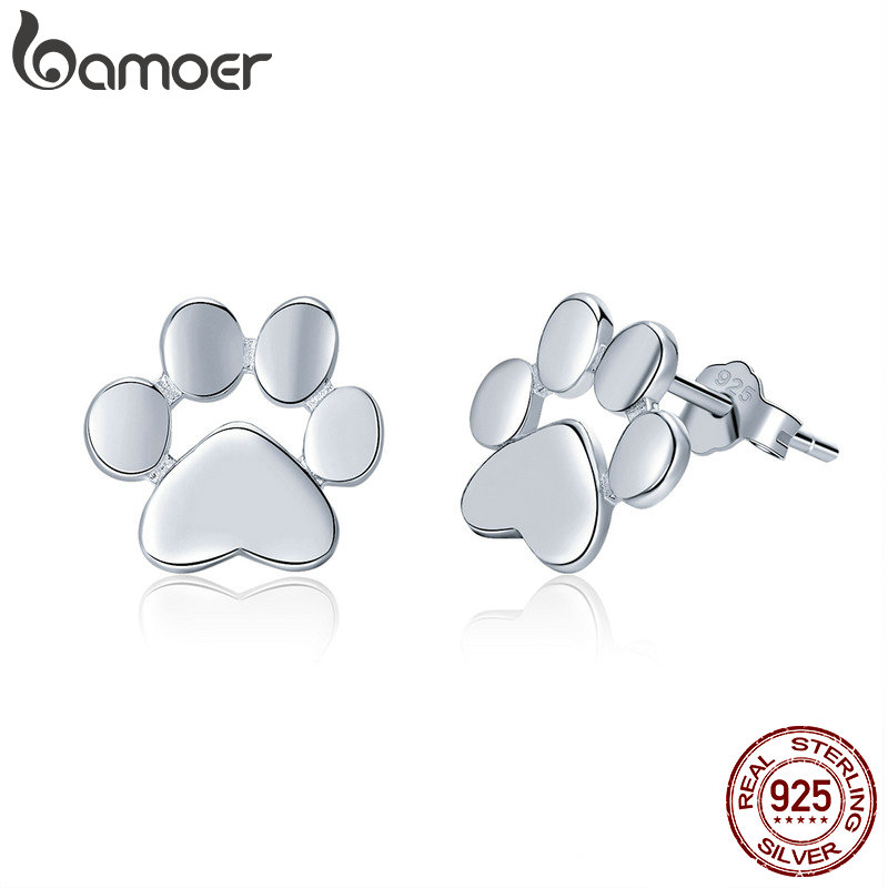 купить BAMOER 100% 925 Sterling Silver Animal Dog Cat Footprints Stud Earrings for Women Fashion Sterling Silver Jewelry Gift SCE407-2 по цене 300.55 рублей