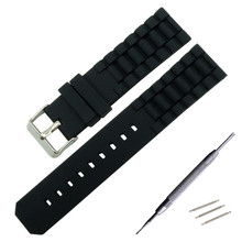 22mm 24mm Universal Silicone Rubber Watchband Stainless Steel Buckle Watch Band Resin Strap  + Spring Bar Tool