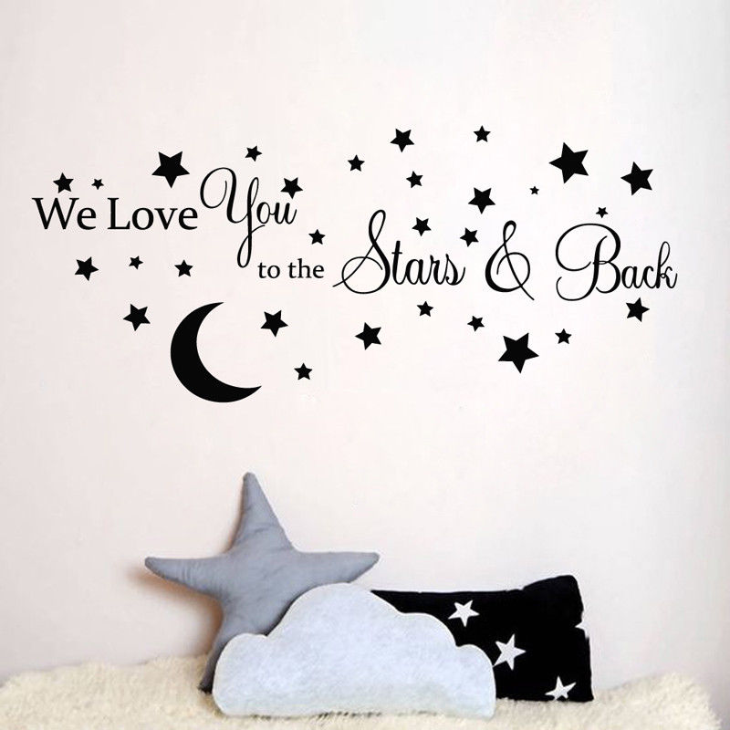 Moon Stars Love Quote Wall Sticker We Love You To The Stars And Back Quote Wall Decal Kids Baby Room Decoration Vinyl Art AY979 ...