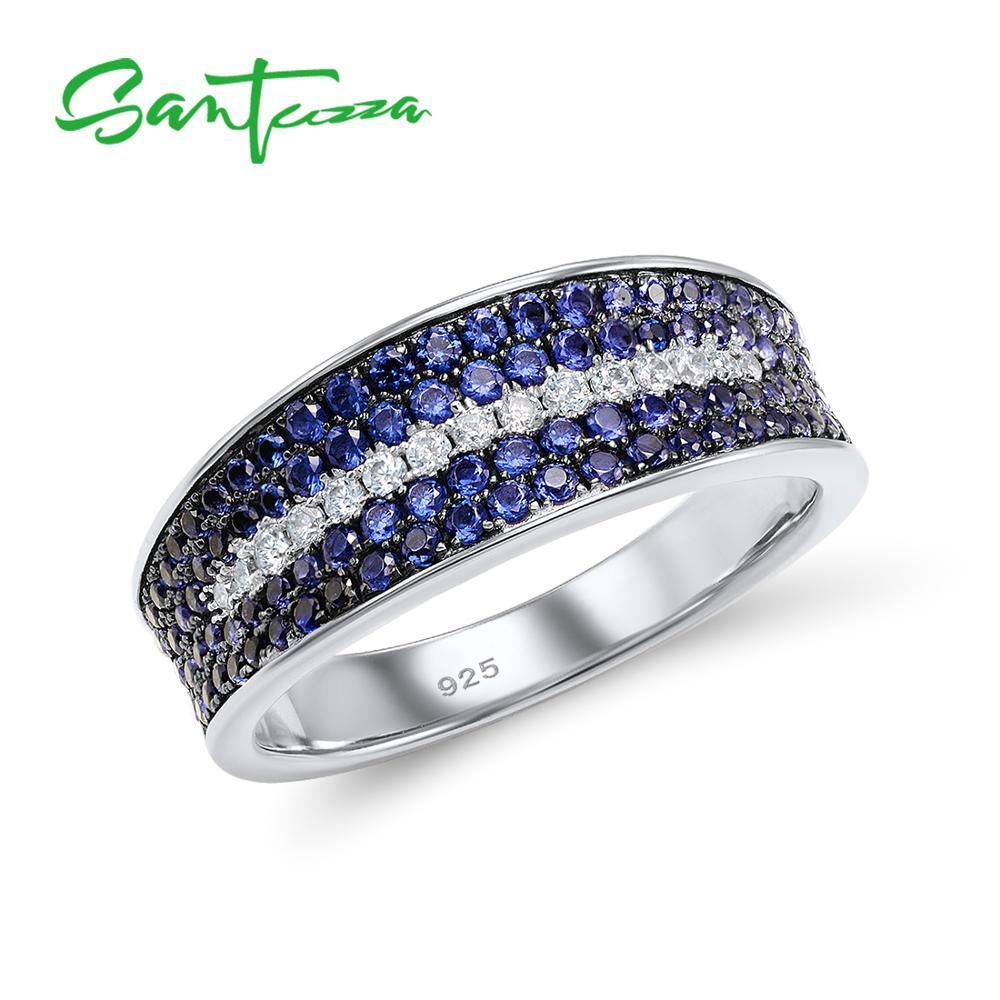 SANTUZZA Silver Ring For Women 925 Sterling Silver Fashion Round Rings For Women Blue Nano Cubic Zirconia Ringen Party Jewelry
