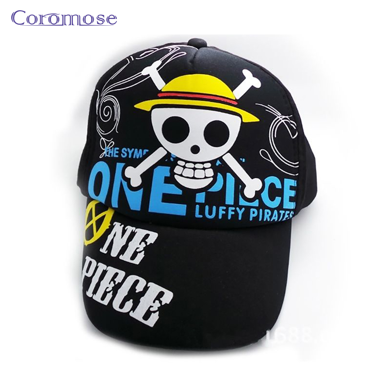One Piece Japan Anime Skull 2016 Summer Men's Mesh Adjustable Cap Baseball Hat Sports Outdoor Snapback Black Hats MZ02