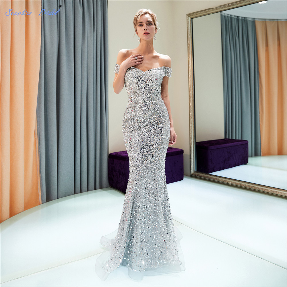 Sapphire Bridal 2019 Womens Long Formal Gowns Mermaid Silver Grey Off The Shoulder Sparkly Sexy Long   Evening     Dresses   Hot Sale