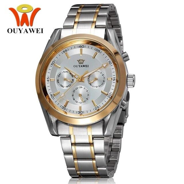 1bb3165a14a6 Nuevo automática viento envío OUYAWEI hombres Reloj banda de acero  inoxidable vestido de moda de oro
