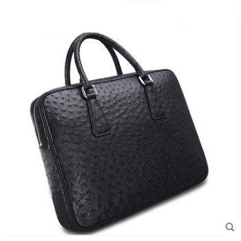 Cestbeau Ostrich Skin Male bag briefcase South Africa Business Ostrich leather handbag with lock men handbag