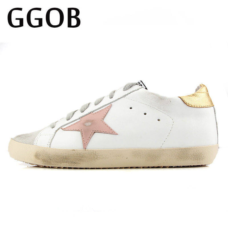 GGOB 2018 Korean Cowhide White Do Old Dirty Shoes Women Vintage Genuine Leather Pink Star Flat Shoes Women Ladies Leather Shoes autumn winter new women purple little dirty do old shoes horse hair fur white shoes ladies star lace up flat casual shoes