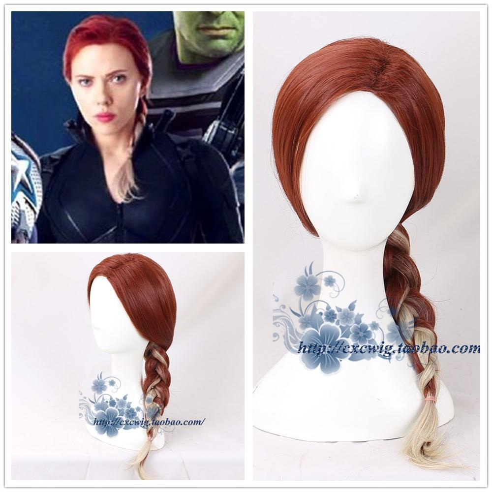 The 4 Endgame Black Widow Cosplay Hair Wig Natasha Romanoff Cosplay Gradient Brown Braided Hair Wig Halloween Props
