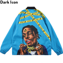 Dark Icon Rap Music Printed Cargo Jacket Men String Hemline Men's Jacket Windbreak Street Jackets Men Outwear Clothing