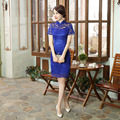 Blue Lace Modern Short Cheongsam Dress Women Daily Mini Sexy Qipao Chinese Oriental Dresses Qi Pao Robe Chinoise 9 Color YYQP