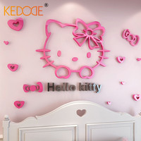 KEDODE 3D Pink Kitty Wall Stickers Cute Cartoon Acrylic Wall Stickers For Kids Bedroom Warm Decoration