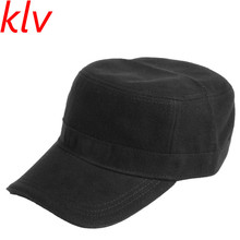 d88408b2c20 KLV 1 PCS High Quality Unisex Men Women Classic Casual Plain Solid Hat  Adjustable Military Army Style Cap Flat Top Winter