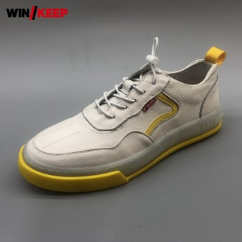 Spring New Men Sport Running Shoes Elastic Band Leather Flats Trainers Shoes Outdoor Jogging Athletic Fitness Sneakers Footwear