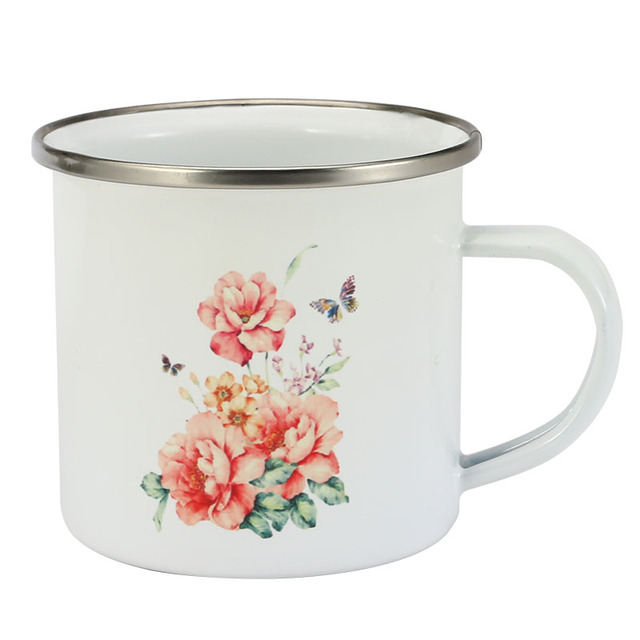 350 ml Enamel Mug Flower