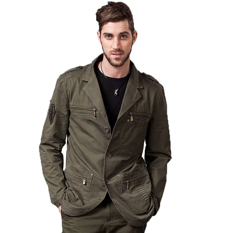 New Men's Casual Blazers Designer Fashion Military Style 100% Cotton Male Jacket Coat Men Blazer Masculino Fit Slim 4XL BF16609