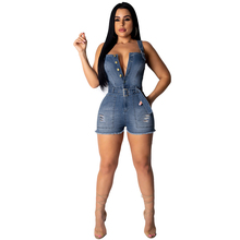 Summer new hot womens denim jumpsuit casual backless hole sexy strap short one-piece jeans