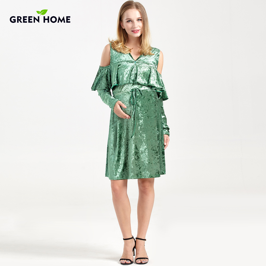 Green Home Winter Maternity Dresses MomsPregnancy Clothes Thicken ...
