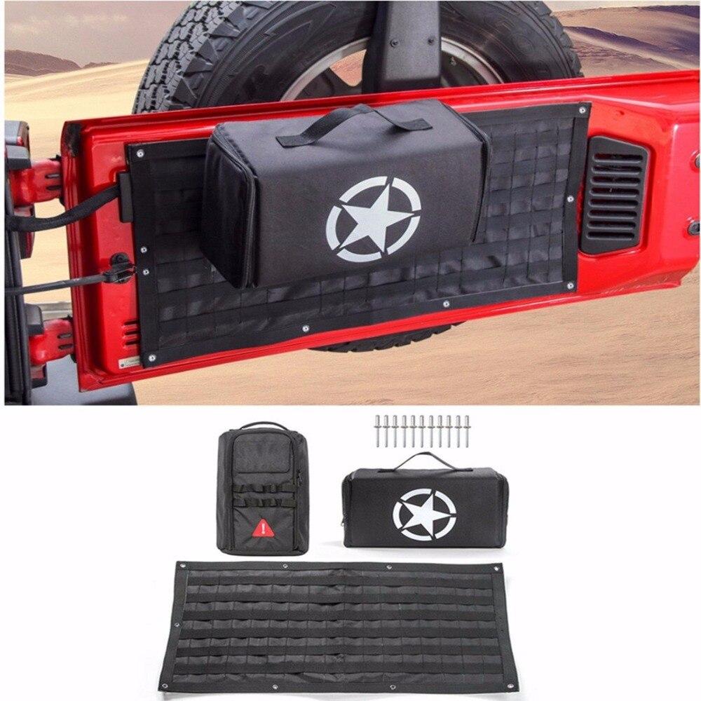 цена на Car Accessories Tailgate Cover Storage Bag & Tool Kit Bag Organizer Pockets For 2007-2018 Jeep Wrangler JK CJ TJ JL Car Styling