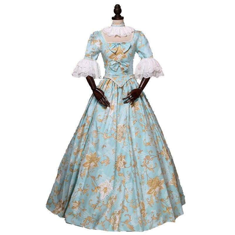 wholesale dealer 3a8a0 7a7f7 Blumendruck Hellblau Prinzessin Süße Ballkleid Kleid Plissiert Spitze  Kleidung Renaissance Benutzerdefinierte Machen Kleid Frei verschiffen