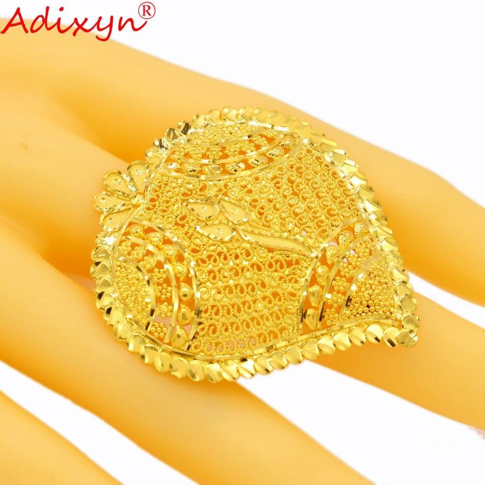 Adixyn grand coeur mode bague en or pour femmes couleur or inde bague de fiançailles accessoires de fête N04085