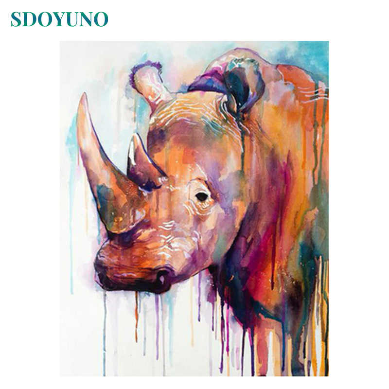 SDOYUNO Coloured Rhino Head pictures by numbers Framed DIY Painting By Numbers adults Wall Art For Home Decor 50x65cm