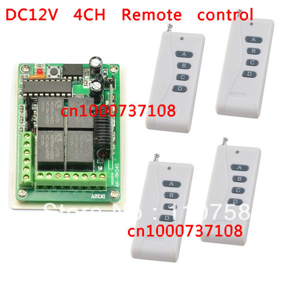 12v 4ch RF wireless remote control Radio Controllers/Switch Receiver Transmitter 10A Learning code output way adjustable dc12v 4ch wireless receiver