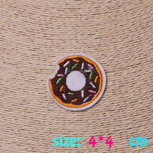2016year New arrival 1PC Doughnut food Iron On Embroidered Patch For Cloth Cartoon Badge Garment Appliques DIY Accessory