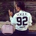 Новый Женский Vogue 92 Печатных Пальто Куртки 2015 Повседневная Короткие Кардиган Бейсбол Пальто Куртка Бомбардировщика Куртки