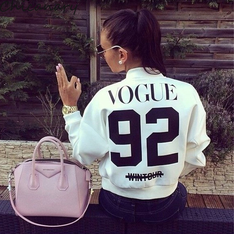 New Women Vogue 92 Printed Coat Jacket 2015 Casual Short Cardigan Baseball Coat Bomber Jacket Chaquetas