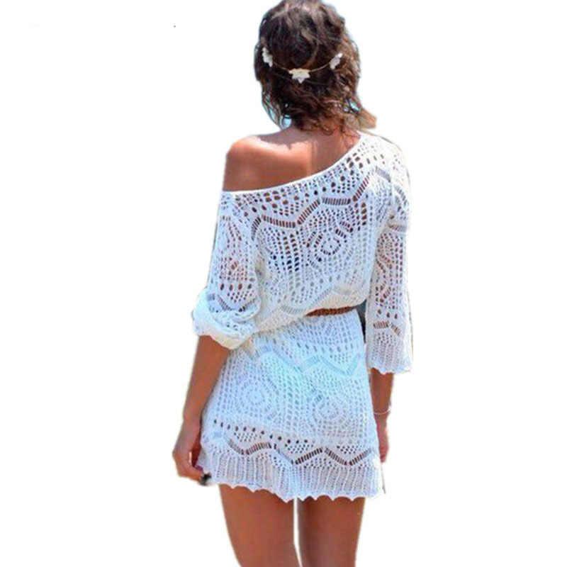 8fc9e109e Con cinturón 2018 playa blanco Crochet Saida De Praia talla grande ...