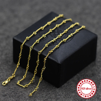 S925 Sterling Silver Necklace Bead Chain Simple Personality Classic Jewelry Plated 24k Gold Couple Models Send