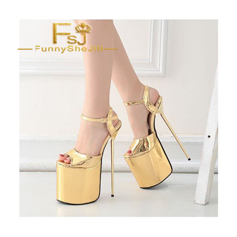 802f6f8677b8 Gold Stripper Heels Peep Toe Metallic Stiletto Heel Sexy Shoes Anniversary  Incomparable Generous Attractive Women Shoes FSJ -in High Heels from Shoes  on ...