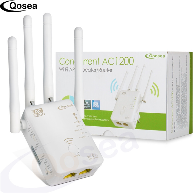 Qosea Concurrent AC1200 Wifi Range Repeater Extender Dual Band 867Mbps 5Ghz And 300Mbps2.4Ghz Signal Booster Wifi Wps Encryption