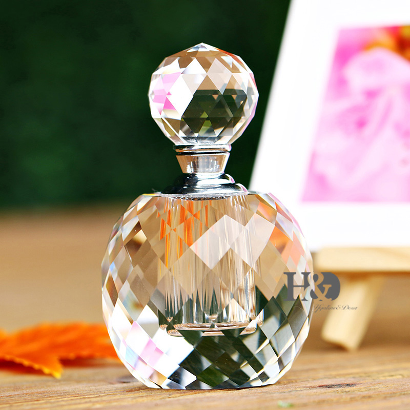 7ml Clear Prism Round Luxury Refillable Women Perfume Bottles Parfum Vintage  Empty Container K9 Crystal Cut Glass Bottle Gift  kzj 108p k9 rectangular prism