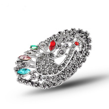 Top-Quality Multicolor Crystal Rhinestone Peacock Animal Rings Anillos Vintage fashion For Women Jewelry