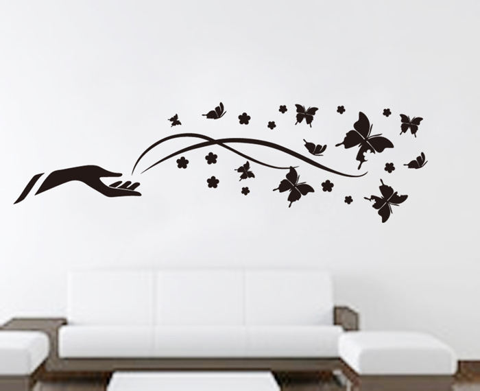 New Vinyl Wall Stickers Home Decor Black Art Arm Butterfly - How to make vinyl wall decals at home