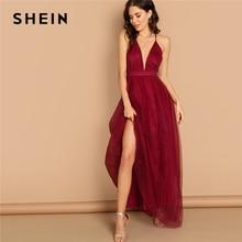 SHEIN Burgundy Plunging Neck Crisscross Back Cami Dress Maxi Plain Sexy Night Out Dress Autumn Modern Lady Women Party Dresses