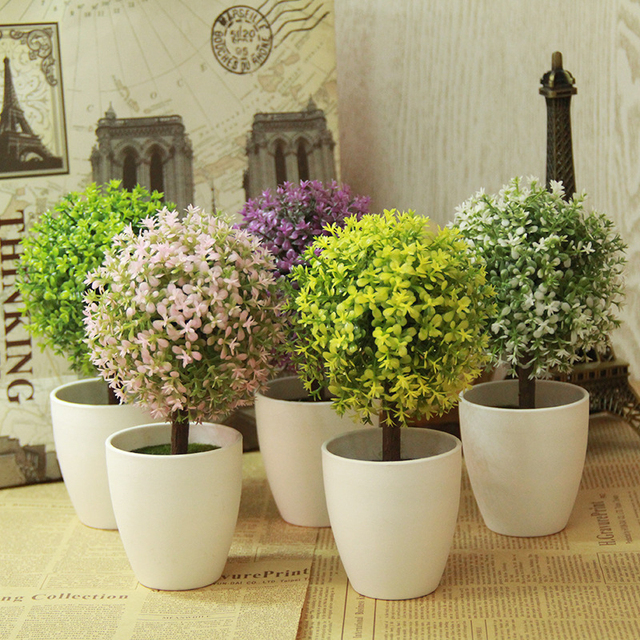 artificial topiary tree & ball plants in pot colorful fake flower Artificial Topiary Trees