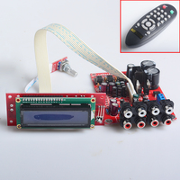 YJH Volume Pre Amplifier Dual AC12V 0 12V 6 Channel Remote Mixing Board M62446 NE5532 LCD