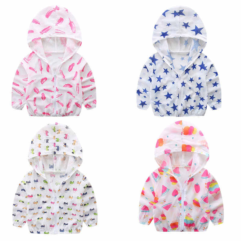 2019 Summer Children's Hooded Sun Protection Clothing Baby Outwear Jacket Boys Girls Cartoon Long Sleeved Air Conditioning Shirt