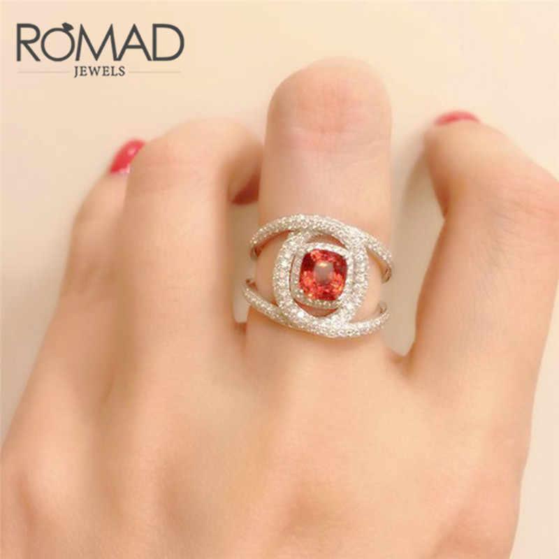 Romad أزياء كبير الأحمر كريستال خاتم الزواج للنساء الفضة الصليب خاتم الخطوبة خاتم الحجم 6-10 anillos R4