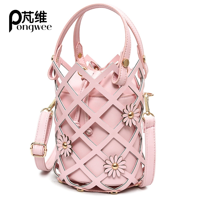 PONGWEE 2017 New Fashion Wild European and American Trend Shoulder Bag Handbags Flowers Hollow Bucket Bag Handbag Messenger Bag wild flowers